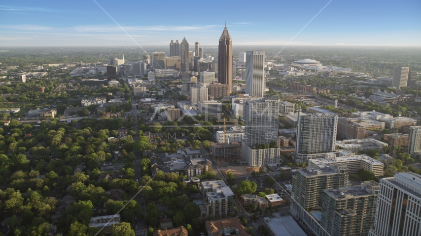 Bank of America Plaza and Downtown Atlanta seen from Midtown, Georgia Aerial Stock Photo AX39_034.0000160F | Axiom Images