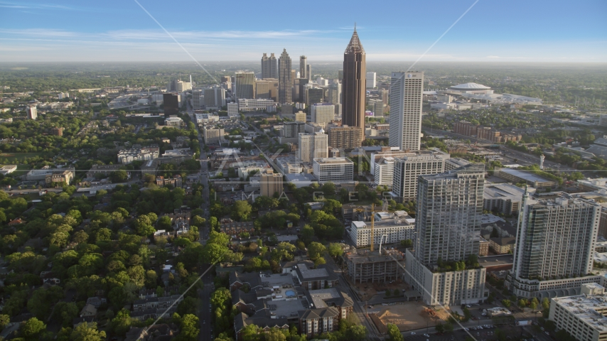 Bank of America Plaza and Downtown seen from Midtown Atlanta, Georgia Aerial Stock Photos | AX39_034.0000278F