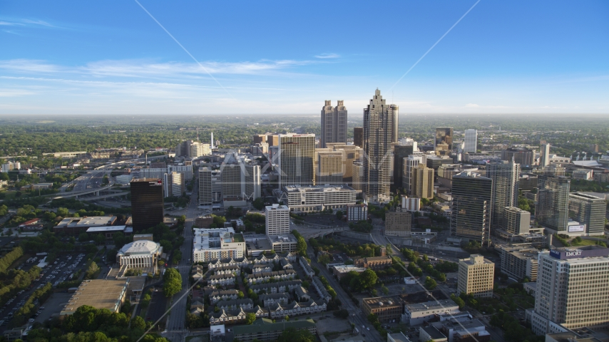 Downtown Atlanta skyscrapers seen from Midtown, Atlanta, Georgia, sunset Aerial Stock Photos | AX39_036.0000295F