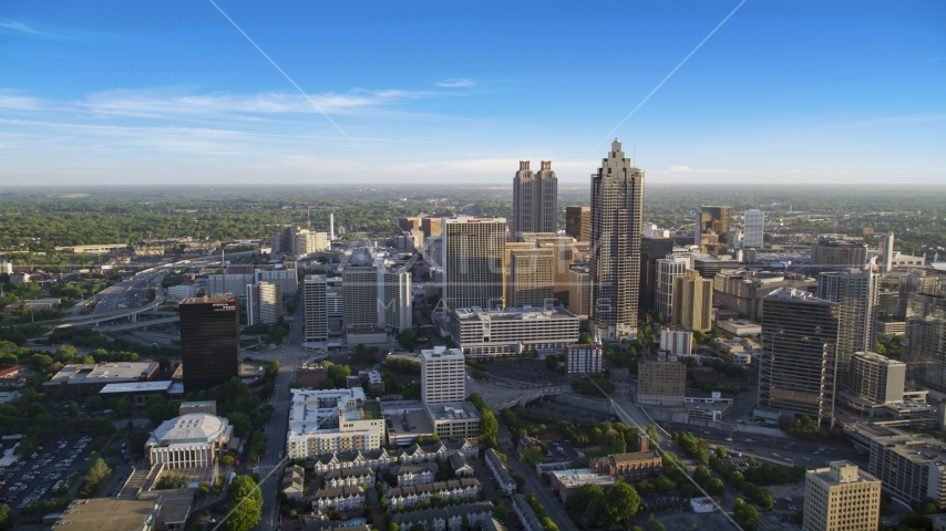 Wide shot of SunTrust Plaza Atlanta Marriott Marquis, Downtown Atlanta, sunset Aerial Stock Photo AX39_037.0000021F | Axiom Images
