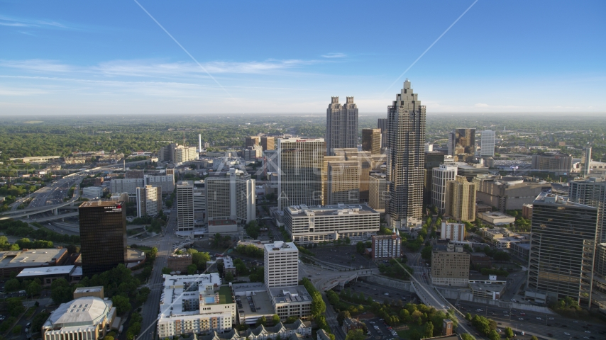 SunTrust Plaza and Atlanta Marriott Marquis, Downtown Atlanta Aerial Stock Photo AX39_037.0000096F | Axiom Images