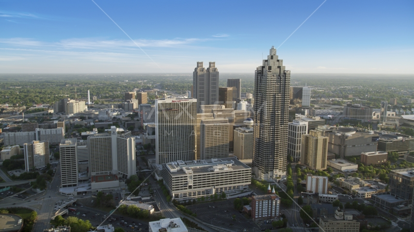SunTrust Plaza and Atlanta Marriott Marquis among neighboring high-rises, Downtown Atlanta Aerial Stock Photos | AX39_037.0000232F
