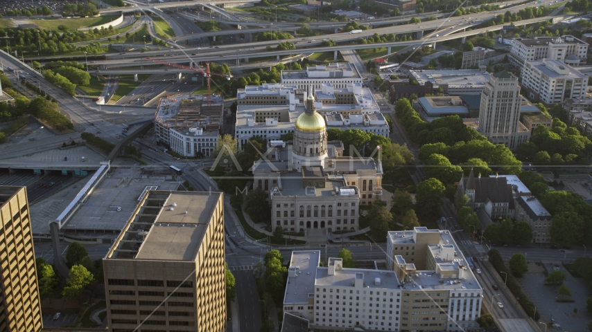 Georgia State Capitol and surrounding buildings, Downtown Atlanta, Georgia Aerial Stock Photos | AX39_039.0000214F