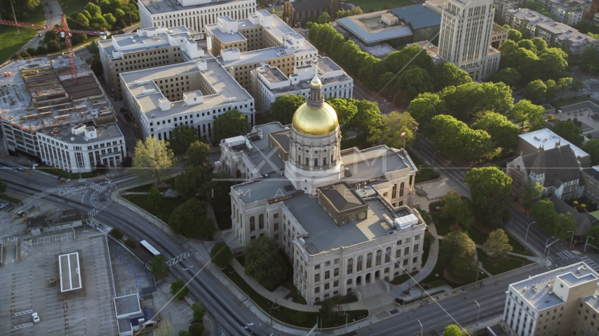 Georgia State Capitol and its gold dome, Downtown Atlanta, sunset Aerial Stock Photos | AX39_040.0000072F