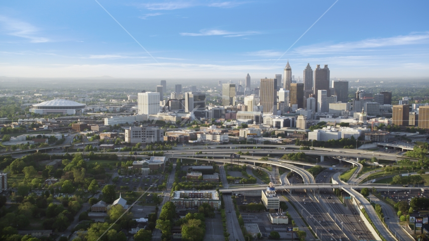 Downtown Atlanta and Georgia Dome, Atlanta, Georgia, sunset Aerial Stock Photos | AX39_042.0000125F