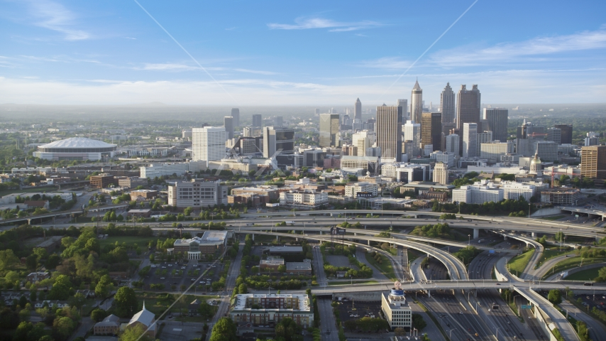 Downtown Atlanta and the Georgia Dome, Georgia Aerial Stock Photos | AX39_042.0000223F