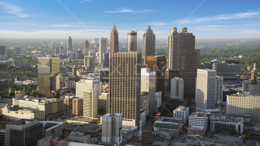 Skyscrapers and high-rises under hazy skies, Downtown Atlanta, Georgia Aerial Stock Photos | AX39_045.0000122F