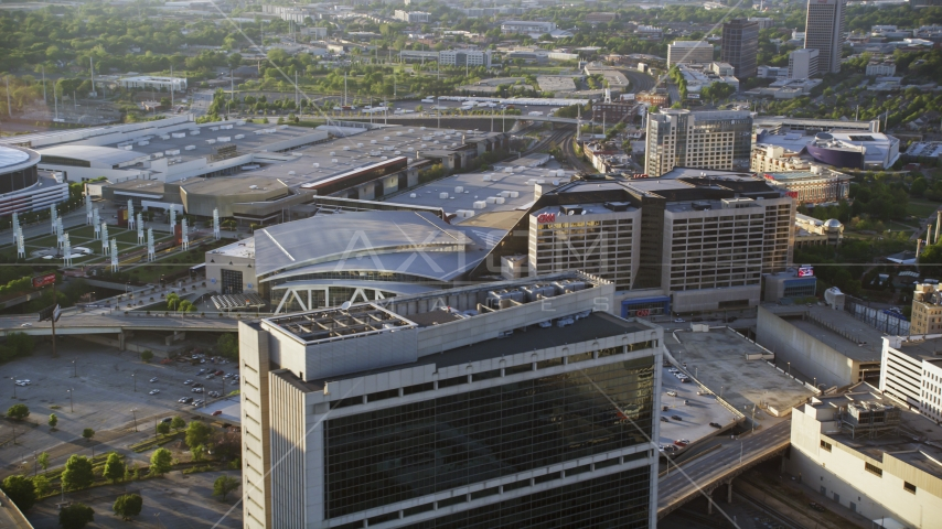 CNN Center and Philips Arena, Downtown Atlanta, Georgia Aerial Stock Photos | AX39_046.0000046F