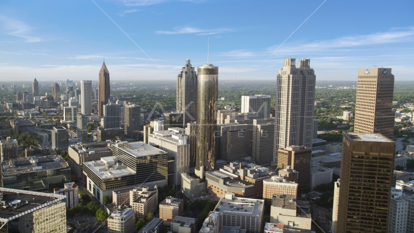 Skyscrapers and office buildings, Downtown Atlanta, Georgia Aerial Stock Photo AX39_047.0000006F | Axiom Images