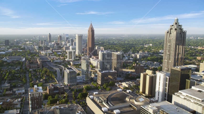 Midtown Atlanta buildings and Bank of America Plaza, Georgia Aerial Stock Photos | AX39_048.0000009F