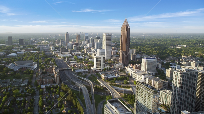Midtown Atlanta buildings toward Bank of America Plaza, Georgia Aerial Stock Photos | AX39_048.0000268F