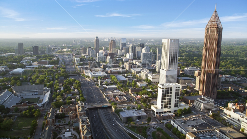 Downtown Connector along city buildings; Midtown Atlanta, Georgia Aerial Stock Photo AX39_049.0000162F | Axiom Images