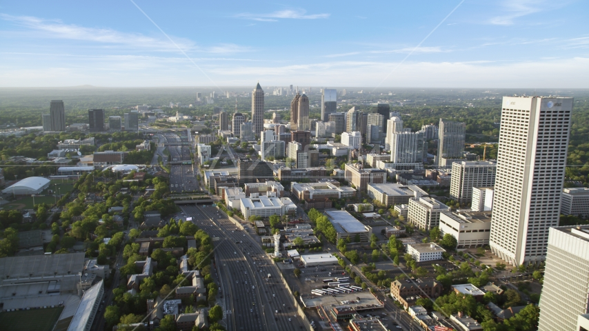 Downtown Connector while alongside One Atlantic Center, Midtown Atlanta Aerial Stock Photos | AX39_050.0000025F