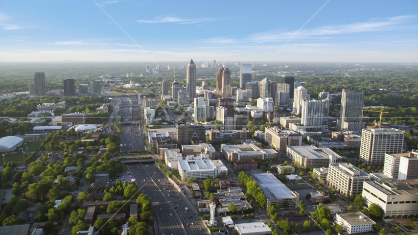Downtown Connector near One Atlantic Center, Midtown Atlanta, Georgia Aerial Stock Photos | AX39_050.0000135F