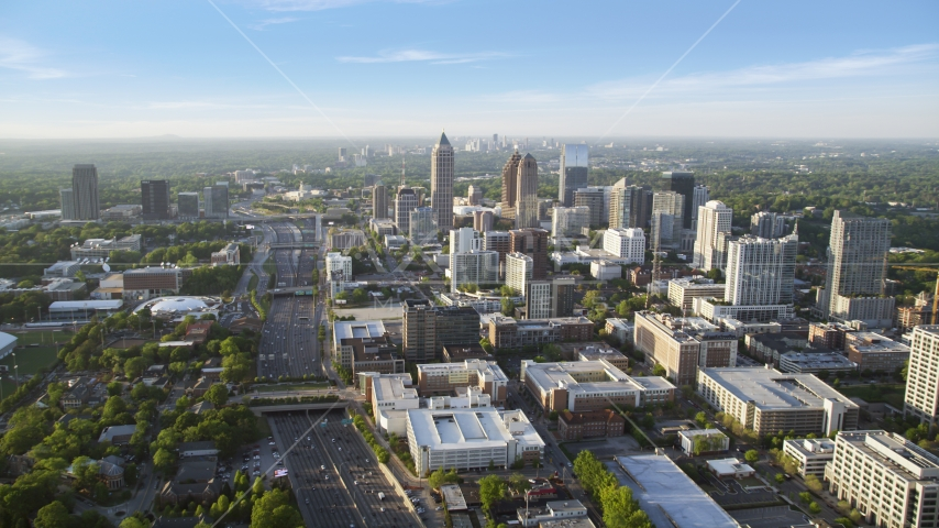 Downtown Connector to One Atlantic Center, Midtown Atlanta, Georgia Aerial Stock Photos | AX39_050.0000225F