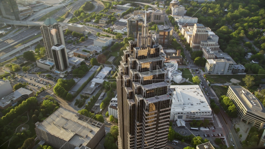 Medium shot of the top of Promenade II, Midtown Atlanta, Georgia Aerial Stock Photos | AX39_057.0000037F