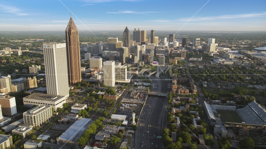 Downtown Connector toward Downtown skyscrapers, Atlanta, Georgia Aerial Stock Photos | AX39_063.0000000F