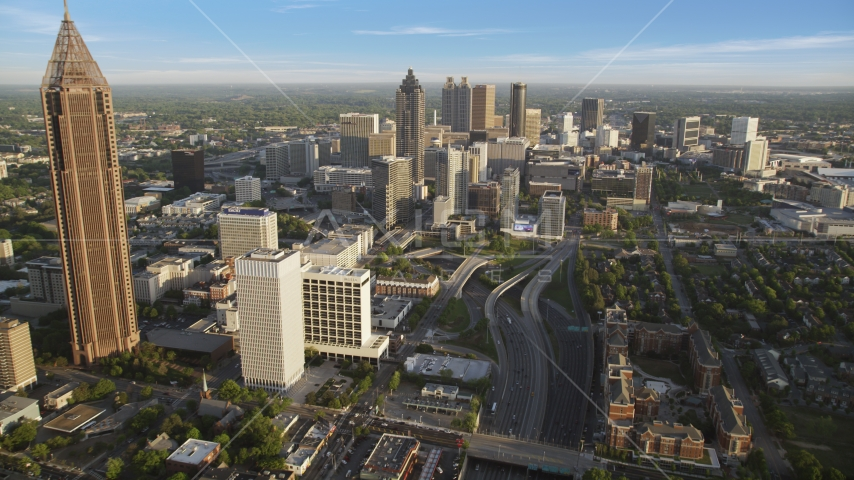 Downtown Connector toward Downtown skyscrapers, Atlanta Aerial Stock Photos | AX39_063.0000222F