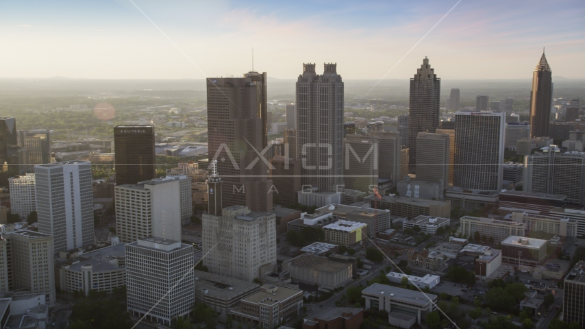 Downtown Atlanta skyscrapers, Georgia, sunset Aerial Stock Photos | AX39_066.0000162F