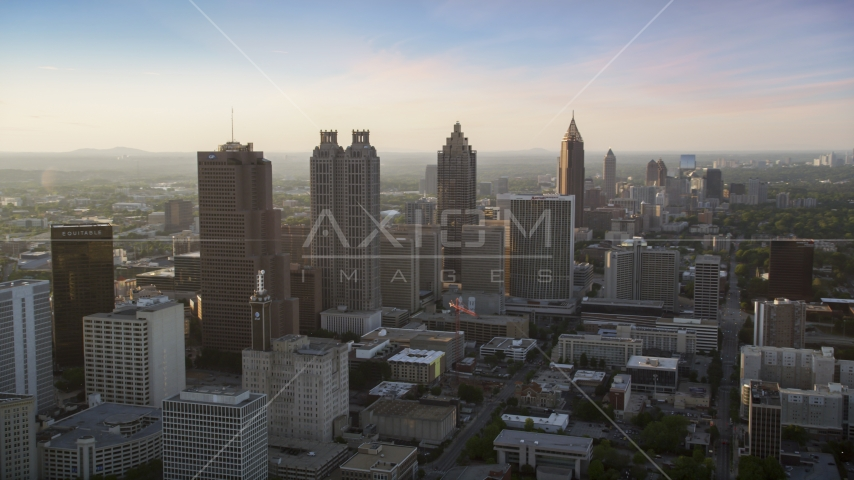 Downtown Atlanta skyscrapers and high-rises, Georgia, sunset Aerial Stock Photo AX39_067.0000014F | Axiom Images