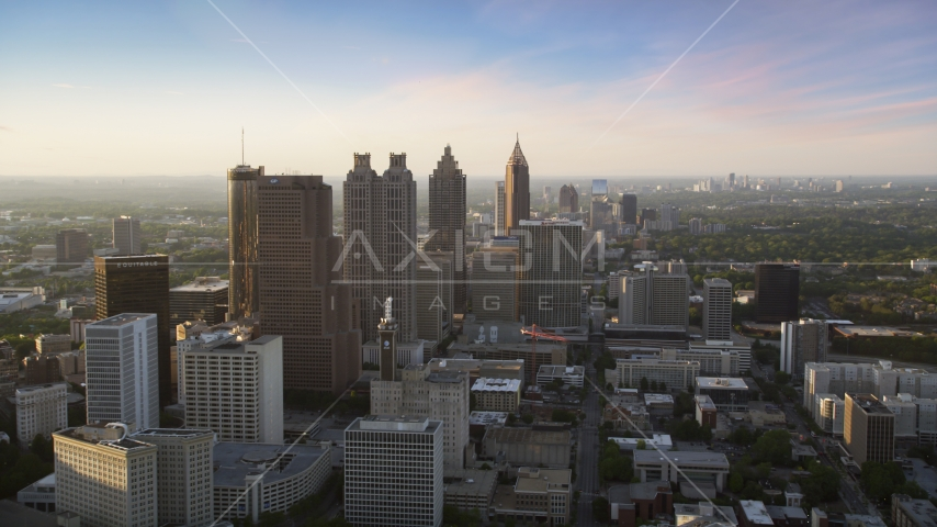 Downtown Atlanta skyscrapers and high-rises, Georgia Aerial Stock Photos | AX39_067.0000163F