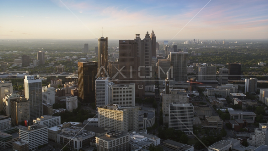 Downtown Atlanta skyscrapers and high-rises in the haze, Georgia Aerial Stock Photos | AX39_067.0000312F