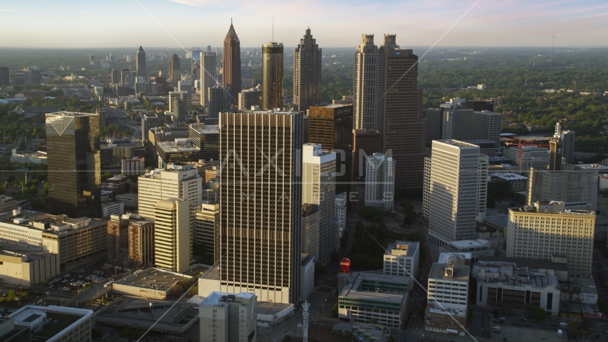 Downtown Atlanta skyscrapers and high-rises, Georgia, sunset Aerial Stock Photo AX39_068.0000196F | Axiom Images