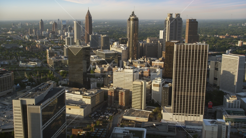Downtown Atlanta skyscrapers and high-rises, Georgia, sunset Aerial Stock Photo AX39_068.0000365F | Axiom Images