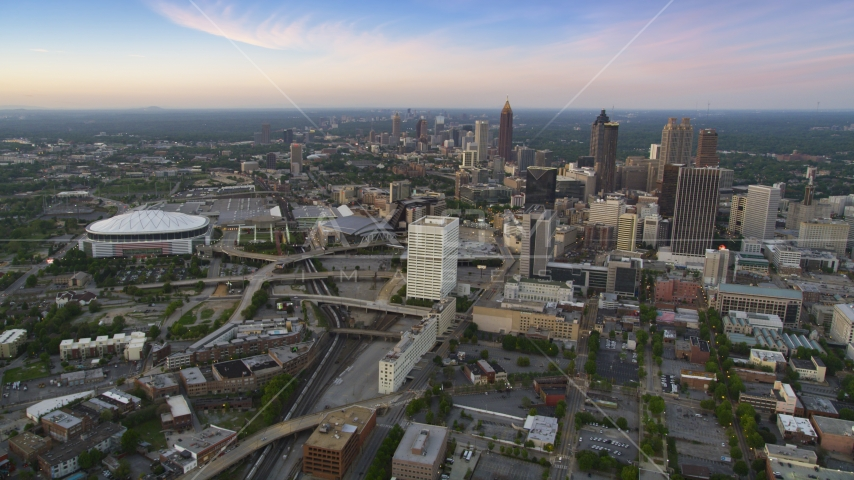 Georgia Dome near Downtown and Midtown Atlanta, Georgia, twilight Aerial Stock Photos | AX40_002.0000265F
