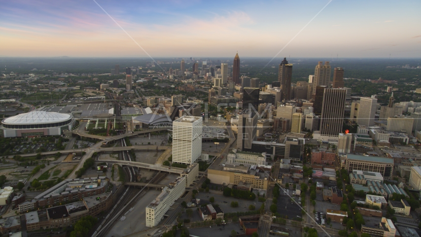 Downtown Atlanta skyscrapers and city buildings, Georgia, twilight Aerial Stock Photos | AX40_003.0000020F