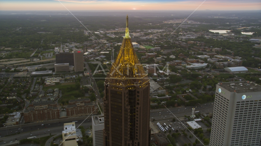 Bank of America Plaza skyscraper in Midtown Atlanta, twilight Aerial Stock Photos | AX40_007.0000269F