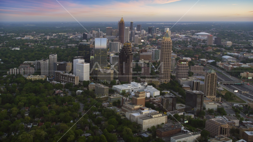 Midtown Atlanta skyscrapers at twilight in Georgia Aerial Stock Photos | AX40_009.0000205F