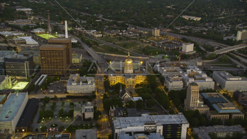 The Georgia State Capitol in Downtown Atlanta at twilight Aerial Stock Photos | AX40_015.0000000F
