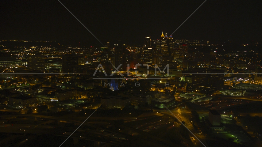 The Downtown Atlanta skyline at night, Georgia Aerial Stock Photos | AX41_006.0000461F