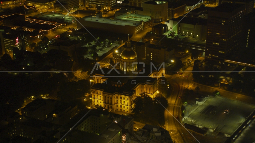 The Georgia State Capitol in Downtown Atlanta, night Aerial Stock Photos | AX41_007.0000103F