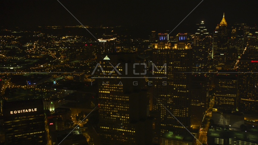 Tall skyscrapers in Downtown Atlanta, Georgia, night Aerial Stock Photos | AX41_008.0000153F