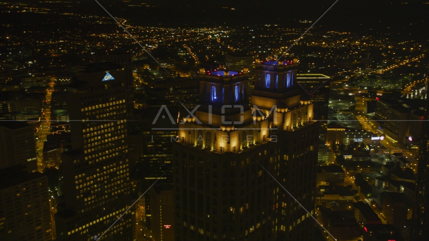 191 Peachtree Tower skyscraper at night in Downtown Atlanta, Georgia Aerial Stock Photos | AX41_009.0000405F