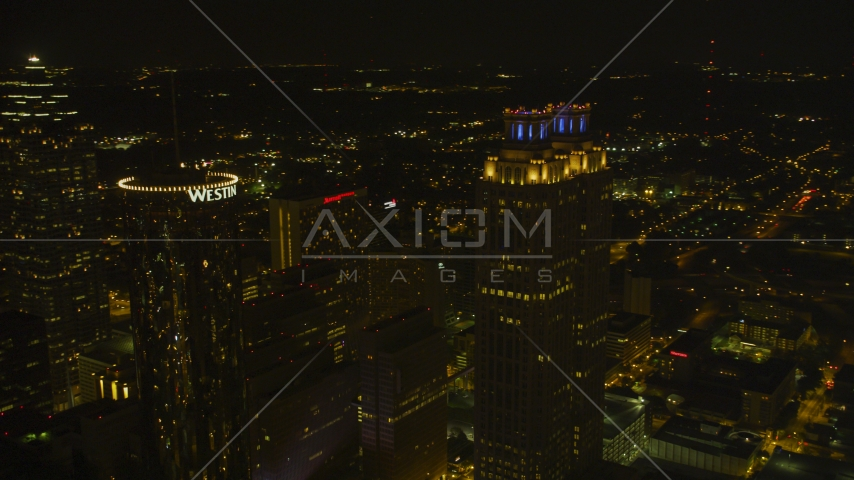 Tops of skyscrapers in Downtown Atlanta, Georgia, night Aerial Stock Photos | AX41_011.0000224F