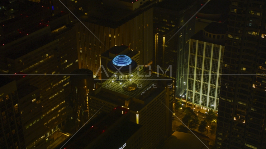 Hyatt Regency hotel in Downtown Atlanta, Georgia, night Aerial Stock Photos | AX41_014.0000188F