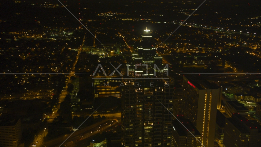 SunTrust Plaza skyscraper in Downtown Atlanta, Georgia, night Aerial Stock Photos | AX41_015.0000405F