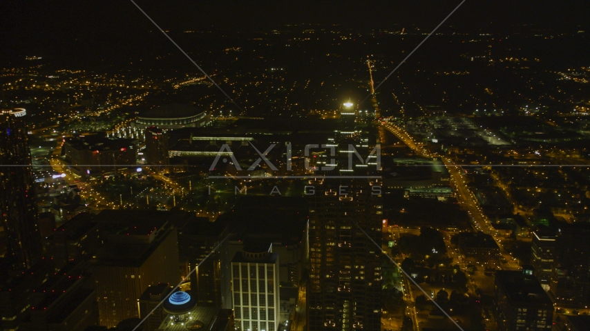 SunTrust Plaza and city buildings in Downtown Atlanta, night Aerial Stock Photos | AX41_017.0000281F