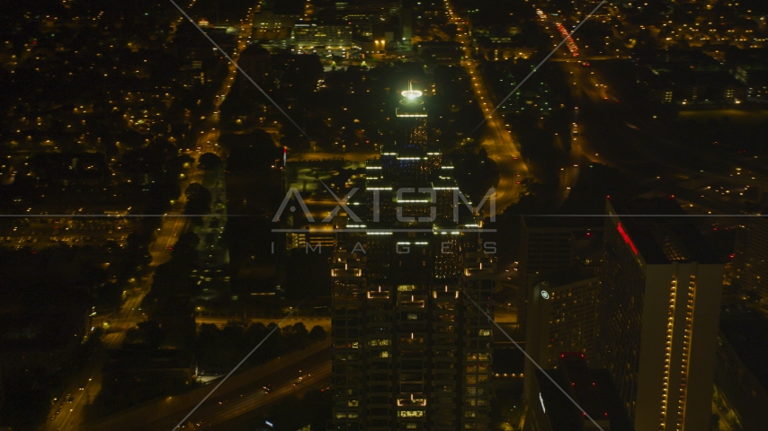 The top of the SunTrust Plaza skyscraper, Downtown Atlanta, Georgia, night Aerial Stock Photos | AX41_019.0000297F