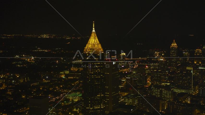 Bank of America Plaza skyscraper at night in Midtown Atlanta, Georgia Aerial Stock Photos   AX41_021.0000078F