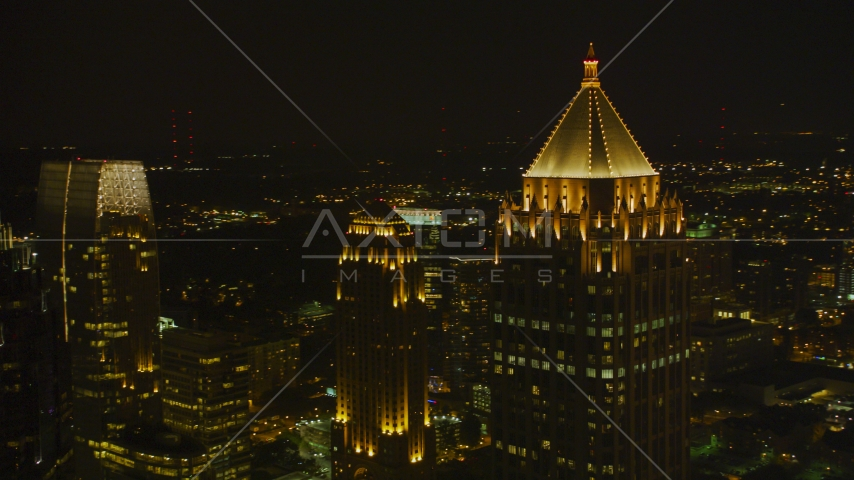One Atlantic Center and nearby skyscrapers, Midtown Atlanta, night Aerial Stock Photos | AX41_029.0000422F