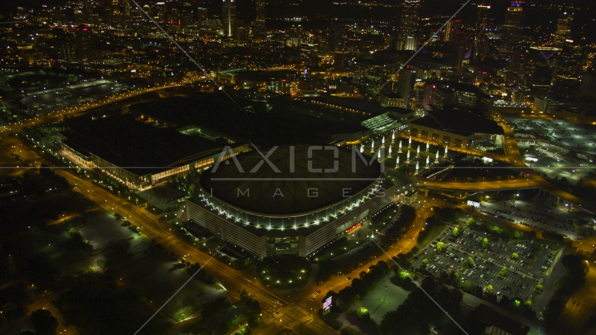 Georgia Dome football stadium in Downtown Atlanta, night Aerial Stock Photo AX41_064.0000000F | Axiom Images