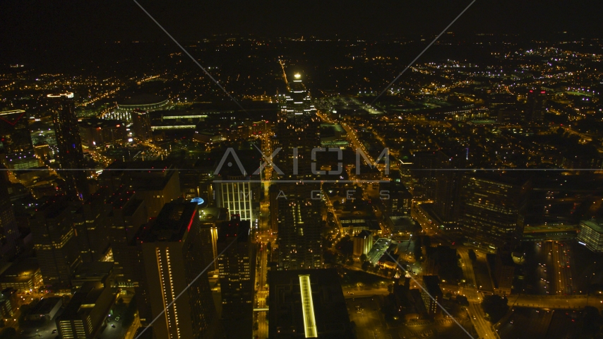 SunTrust Plaza skyscraper and city buildings at night in Downtown Atlanta, Georgia Aerial Stock Photos | AX41_067.0000134F