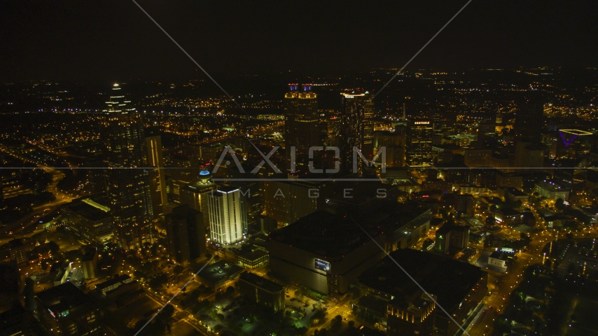 A wide view of the city's skyscrapers in Downtown Atlanta, Georgia, night Aerial Stock Photos | AX41_076.0000037F