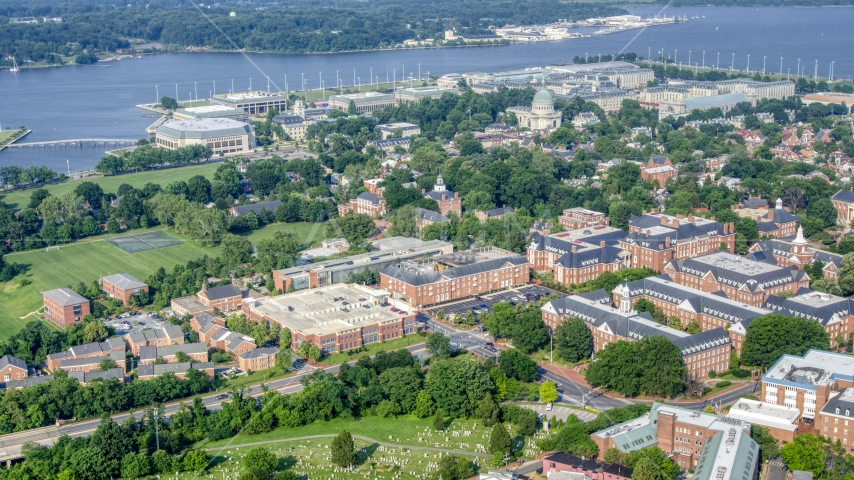State government buildings and the United States Naval Academy, Annapolis, Maryland Aerial Stock Photos   AXP073_000_0005F