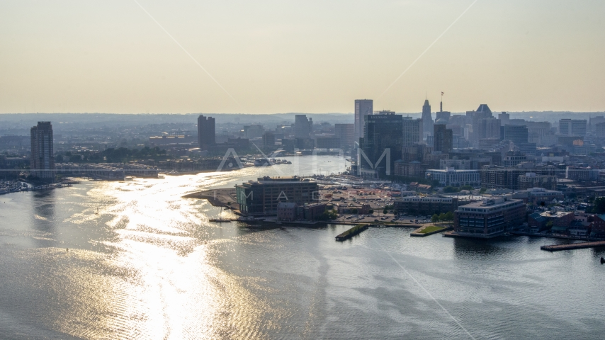 The Patapsco River and Downtown Baltimore skyline, Maryland Aerial Stock Photos | AXP073_000_0009F