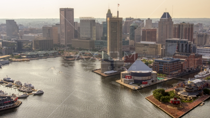 Harborplace and Downtown Baltimore skyscrapers, Maryland Aerial Stock Photos | AXP073_000_0010F